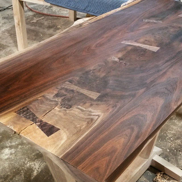walnut slab with butterfly keys